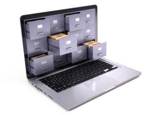 Musikarchiv auf dem Laptop