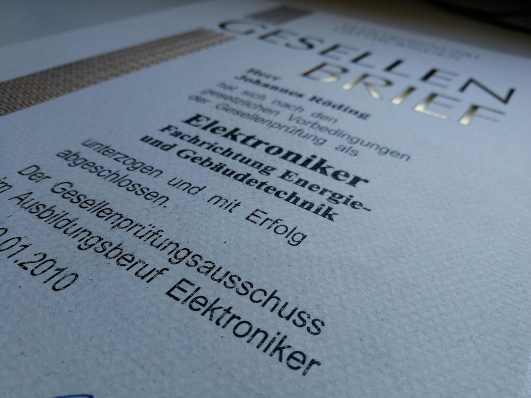 Gesellenbrief - Elektroniker für Energie- und Gebäudetechnik