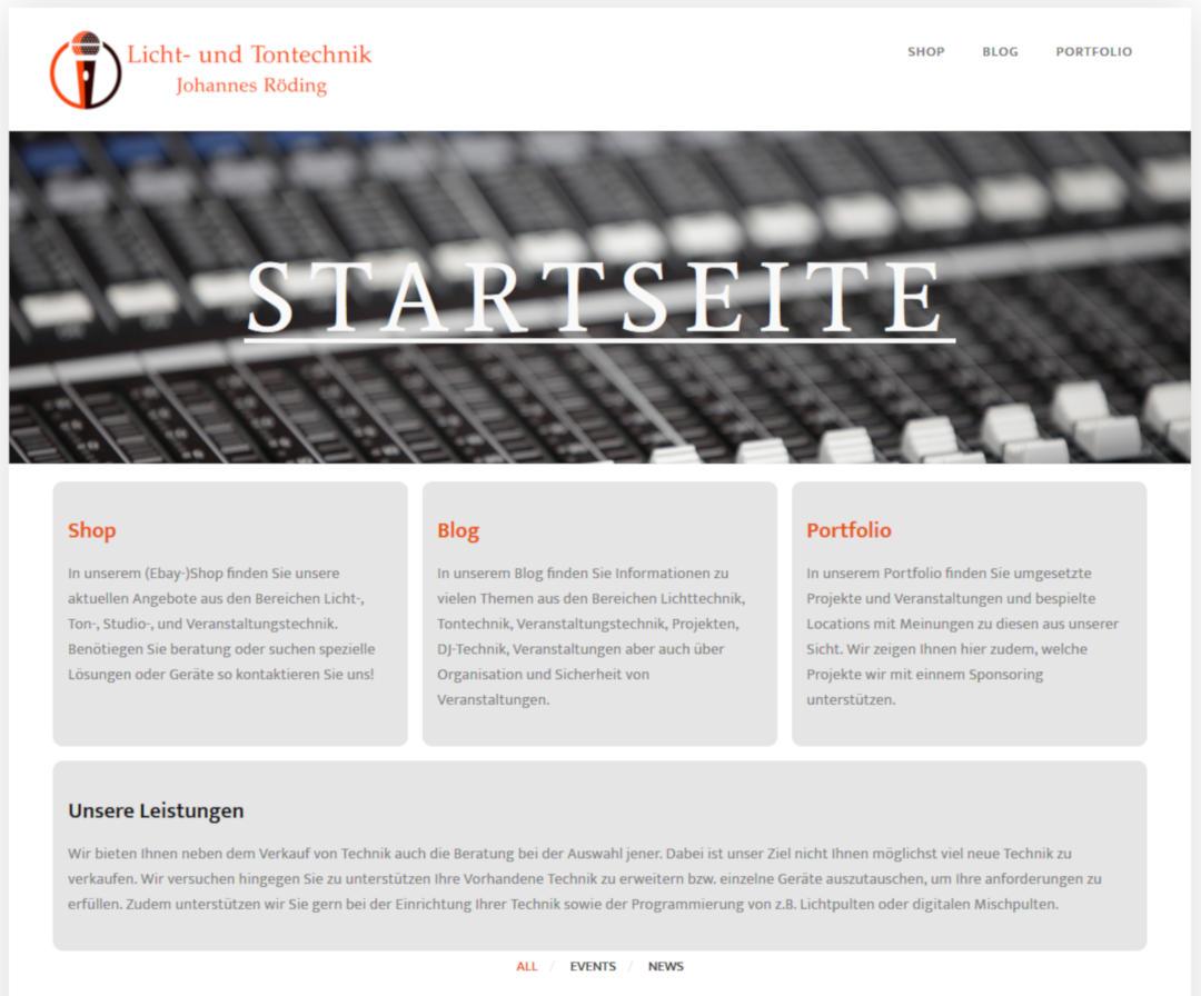 Neue Website bei Licht- und Tontechnik Röding - ein weiterer Partner